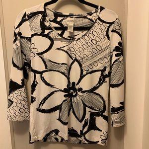Chico's black and white flowered shirt